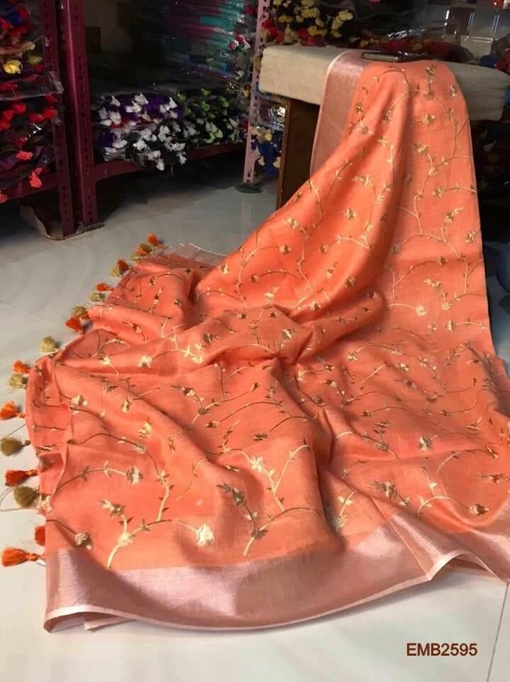 Beautiful Zari border linen saree with new embroidery design