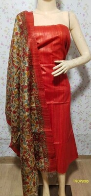 Elegant Tusser Ghicha top with digital print dupatta
