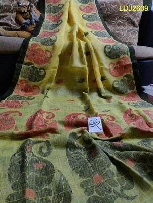 Dhakai Jamdani Linen Saree with all-over hand-woven work.