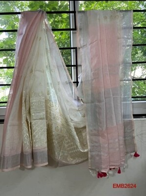 Tie and dye linen saree with new embroidery design
