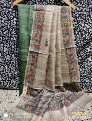 Elegant Tusser Ghicha top with Madubani hand painted dupatta