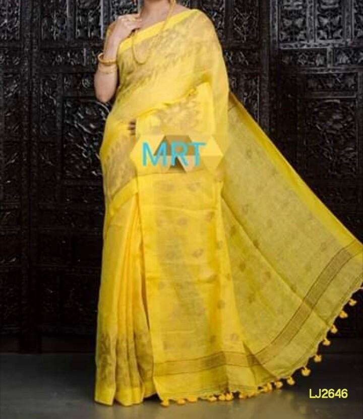 Orange shade handwoven Jamdani Linen Saree