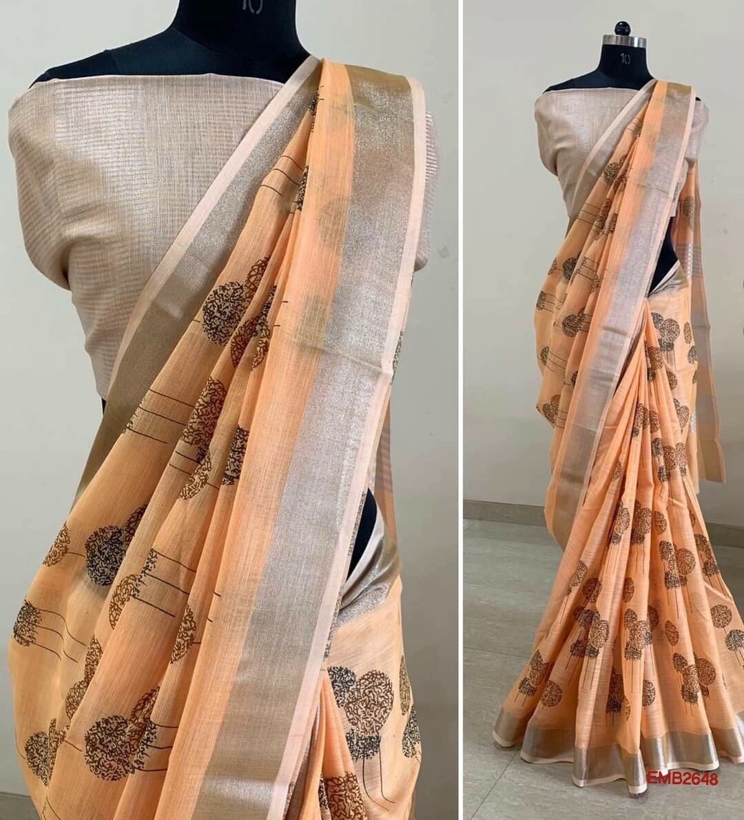 Linen zari border saree with embroidery