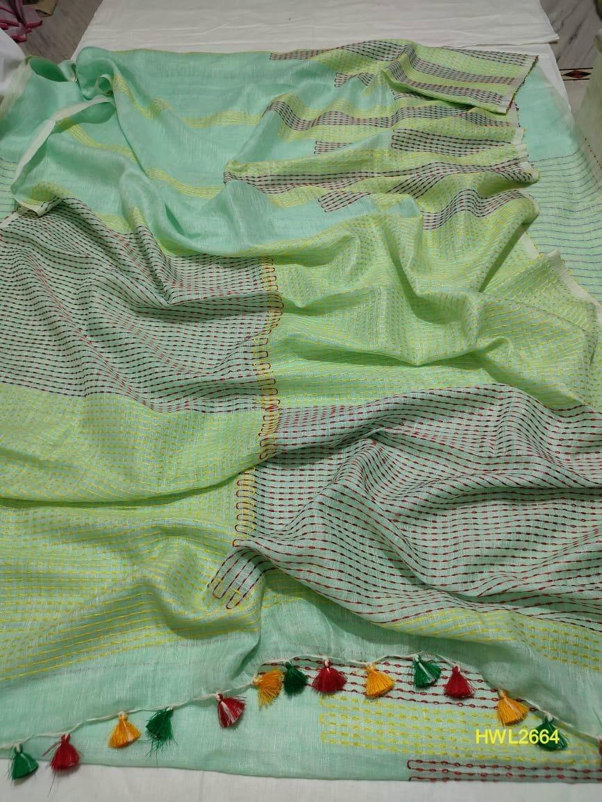 Green shade hand woven linen saree