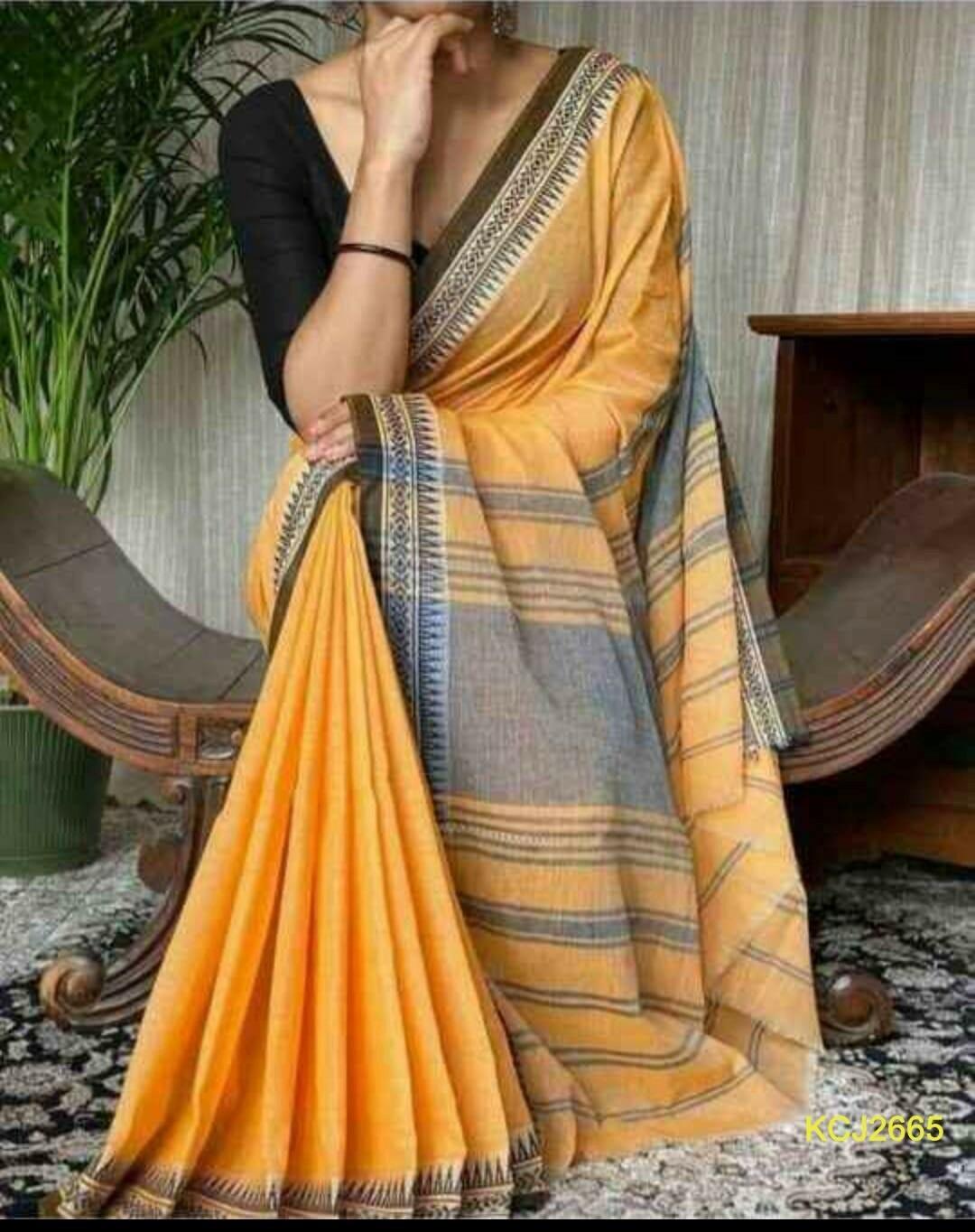 Handloom Cotton Khadi saree with jacquard weaving