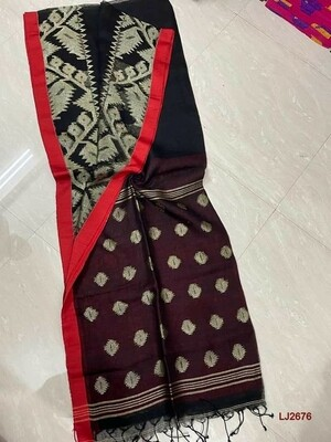 Elegant handwoven Jamdani Linen Saree