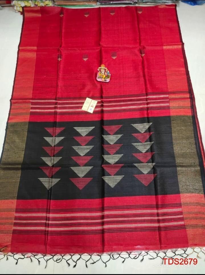 Tusser dupion Zari boarder saree with new hand weaving design