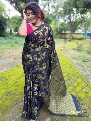 Handwoven Organic Linen Jamdani Saree