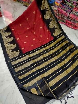 Hand woven Aam Kolka Jamdani Linen Saree