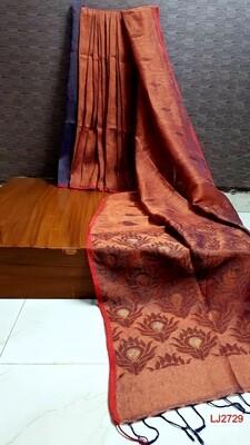 Elegant  hand woven linen jamdani saree