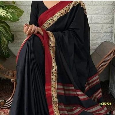 Elegant khadi cotton saree with elephant motif work