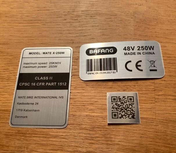 Complete 3 sticker set US/ASIA frame Class I or II + Bafang motor + QR