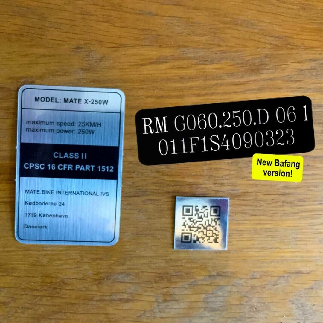 US/ASIA frame sticker set Class I or II, with new Bafang motor sticker + QR