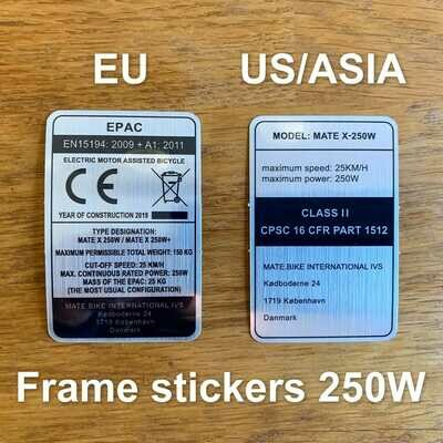 EU & US/ASIA frame sticker 250W versions