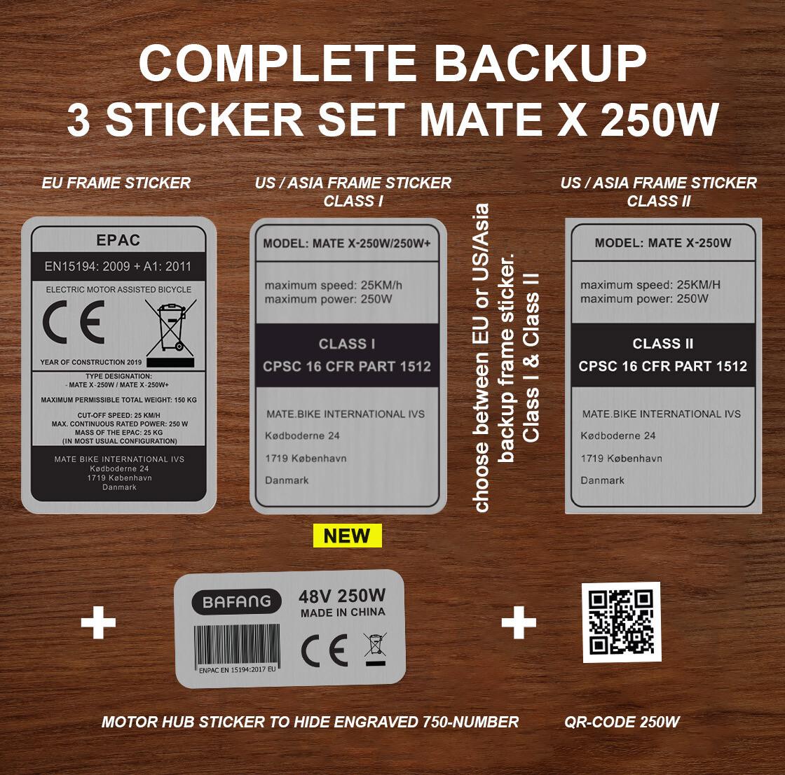 EU & US/ASIA frame sticker 250W versions both Class I & II + QR