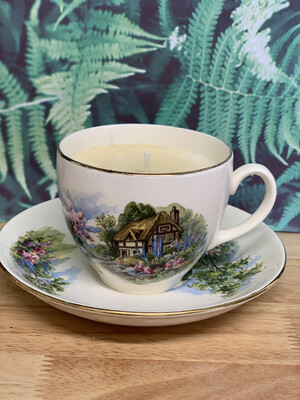 Vintage Teacup Soy Wax Candle - Stephanotis