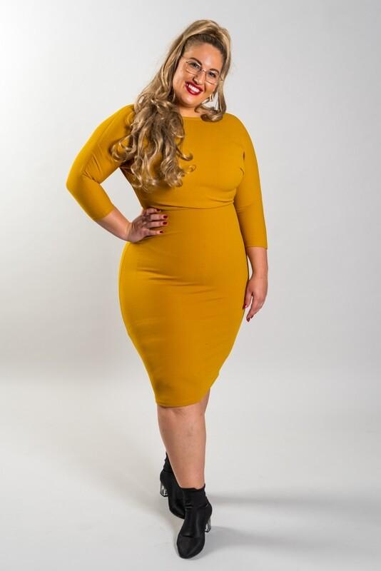 Barcode Dress mustard