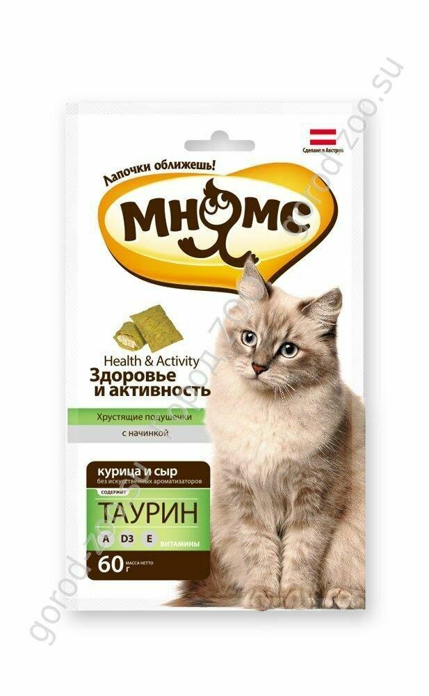 """Мнямс хрустящие подушечки для кошек с курицей и сыром """"Здоровье и активность"""" 60 г"""