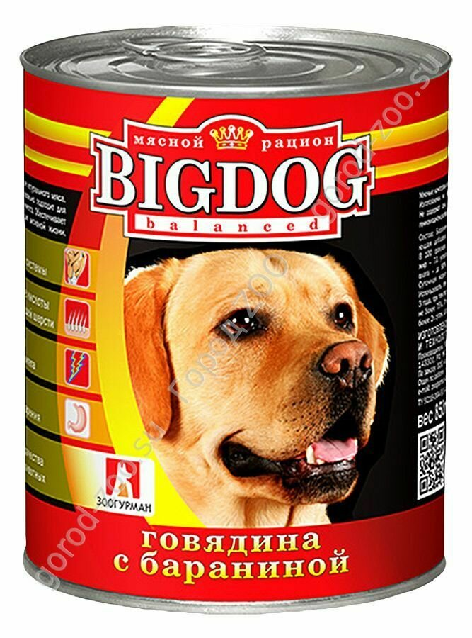 Биг дог Зоогурман BIG DOG конс. д/соб 850гр Говядина с бараниной