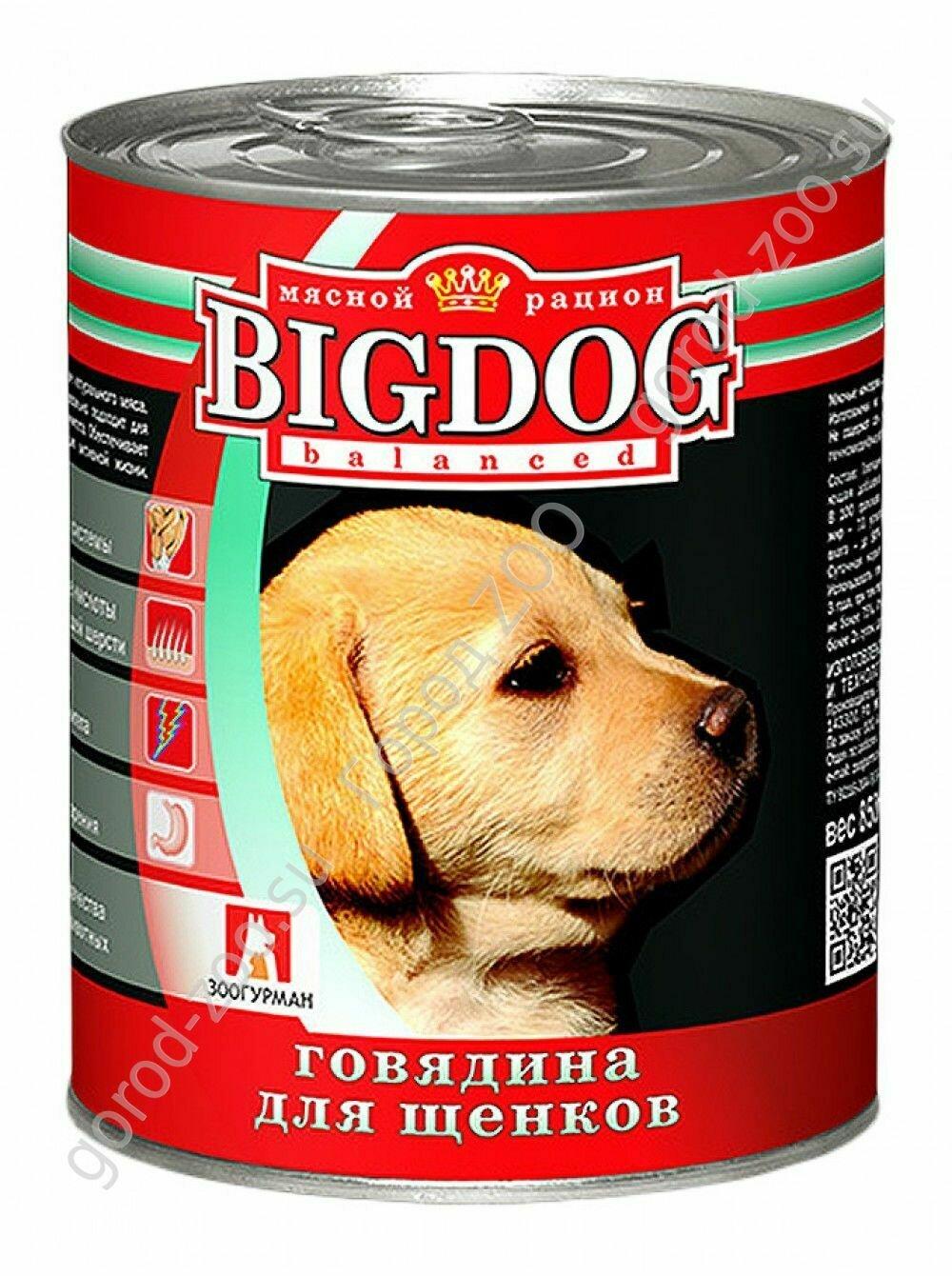 Биг дог Зоогурман BIG DOG конс. д/щен. 850гр Говядина