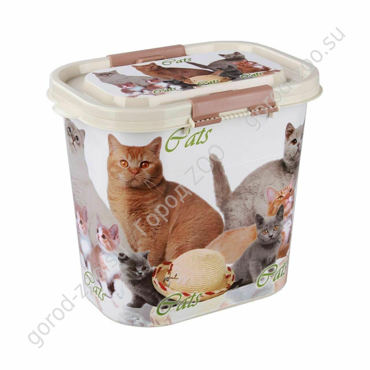 """Контейнер """"Cats"""" для корма 10л (овальный)"""