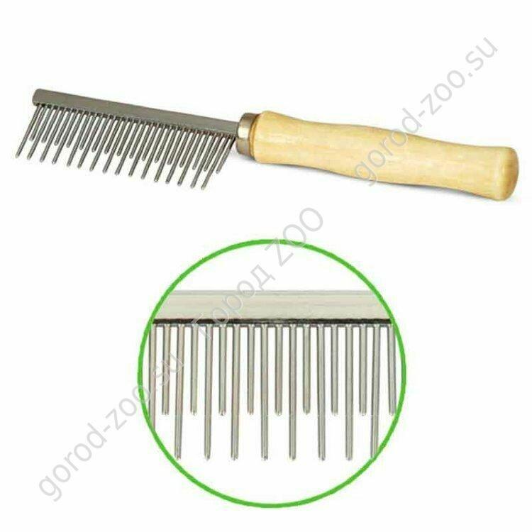 Расческа с деревянной ручкой комбинир.35*175мм, Triol пакет