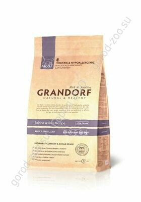 Грандорф GRANDORF CAT Rabbit&Rice STERILISED (Кролик с рисом для стерилизованных кошек) 400гр