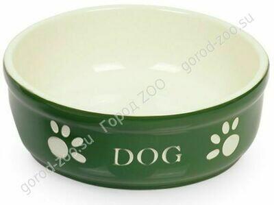 Миска керам. NOBBY 12см зеленая с рисунком DOG