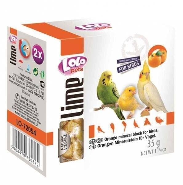 Лоло петс LoLo Pets минеральный камень д/птиц 35г апельсин