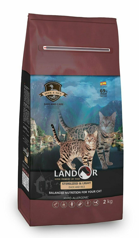 Ландор LANDOR сух. д/кошек стерилы/контроль веса утка/рис 2кг