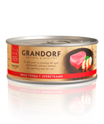 Грандорф Консервы для кошек Филе тунца с креветками 70 гр.
