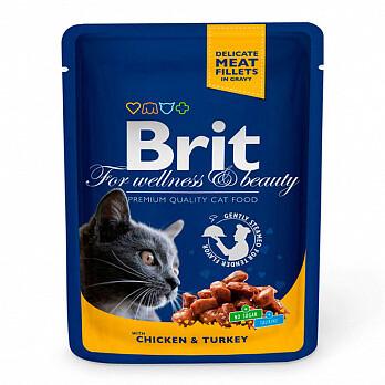 Брит премиум BRIT Premium влаж. д/кошек 100г Курица и индейка