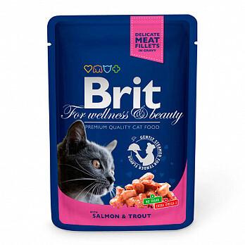 Брит премиум BRIT Premium влаж. д/кошек 100г Лосось и форель