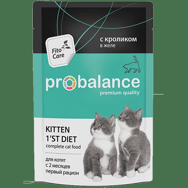 Пробаланс ProBalance влаж.д/кошек 85г 1`st Diet д/котят кролик в жел