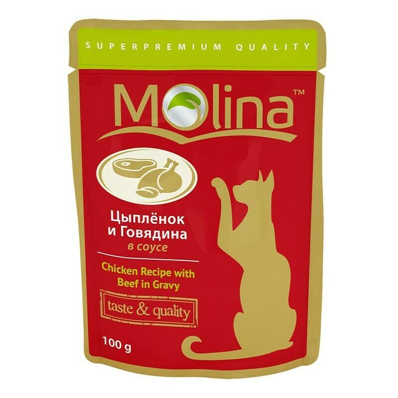 Молина влаж.д/кошек 100г Цыпленок и говядина в соусе