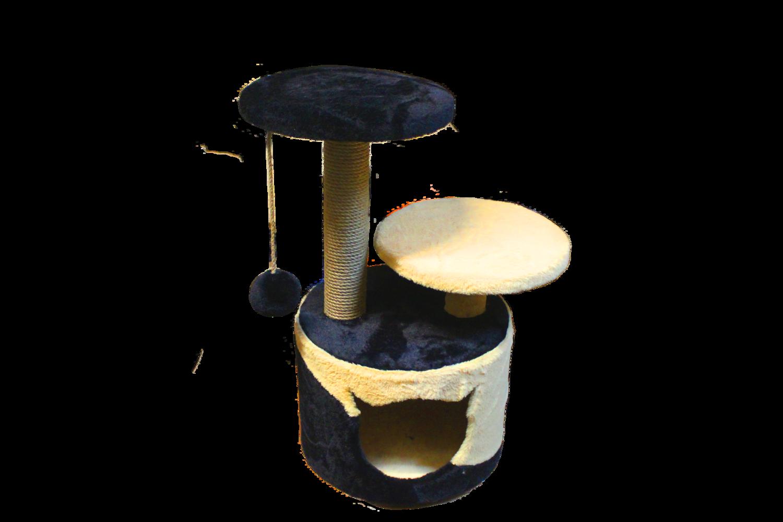 056а Домик с 2 лежанками круглый малый комбинированный 35х35х62