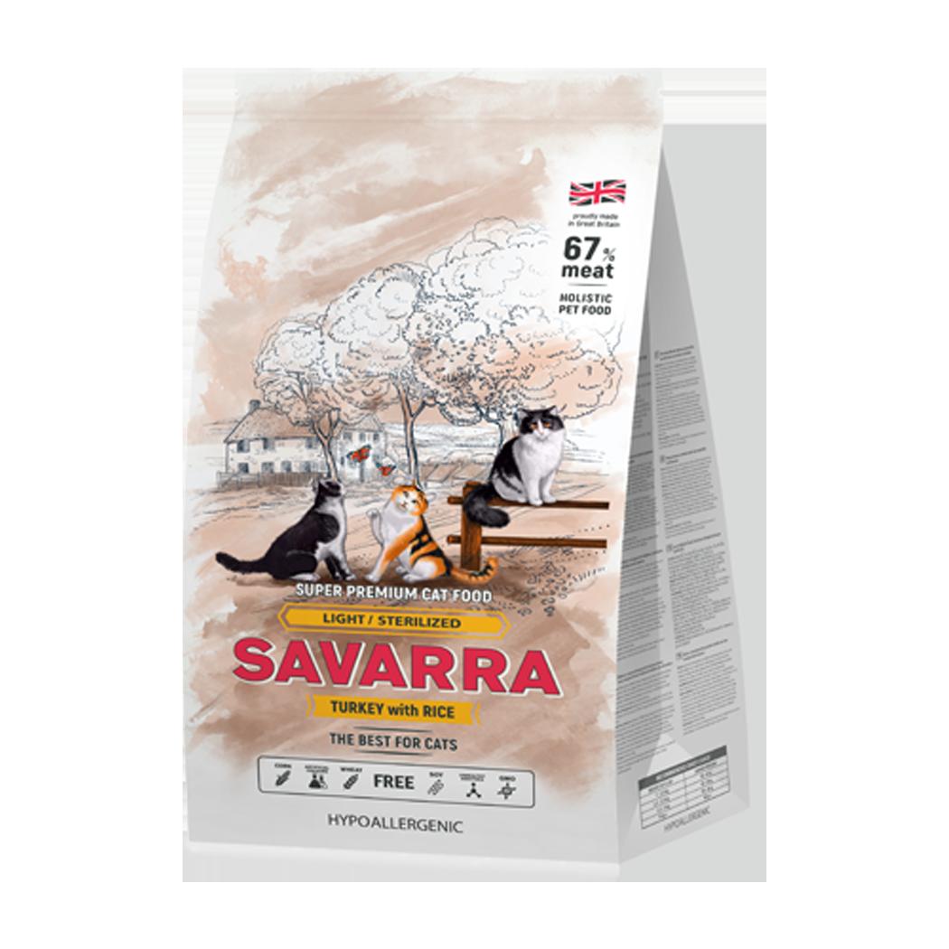 Савара SAVARRA д/кошек с изб.весом и стерил. индейка/рис
