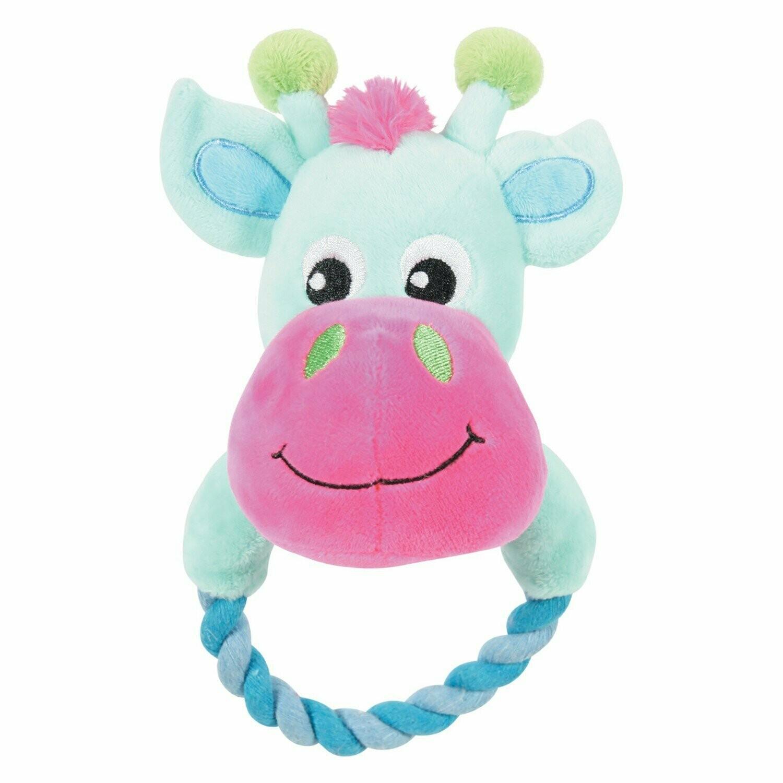 Zolux Игрушка плюшевая д/щенк. корова бирюзовая с кольцом