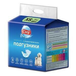 Подгузники д/собак,кошек 2-4 кг размер XS 11шт Cliny