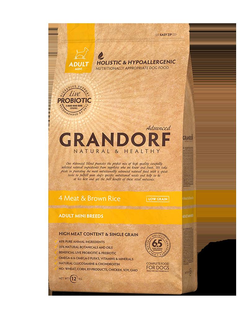 Грандорф GRANDORF DOG 4 Meat&Rice PROBIOTIC MINI (4 мяса с рисом и пробиотиками для мини пород) 1 кг.