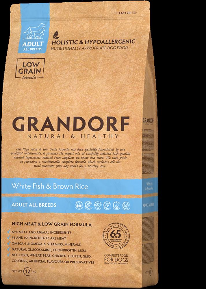 Грандорф GRANDORF DOG White Fish&Rice ALL BREEDS (белая рыба с рисом для собак всех пород) 1 кг.