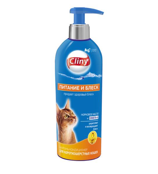 Cliny Шамп-конд. д/короткош. кошек питание и блеск 200мл