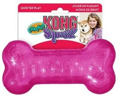 Kong игрушка для собак Squezz Crackle хрустящая косточка средняя 15х4 см