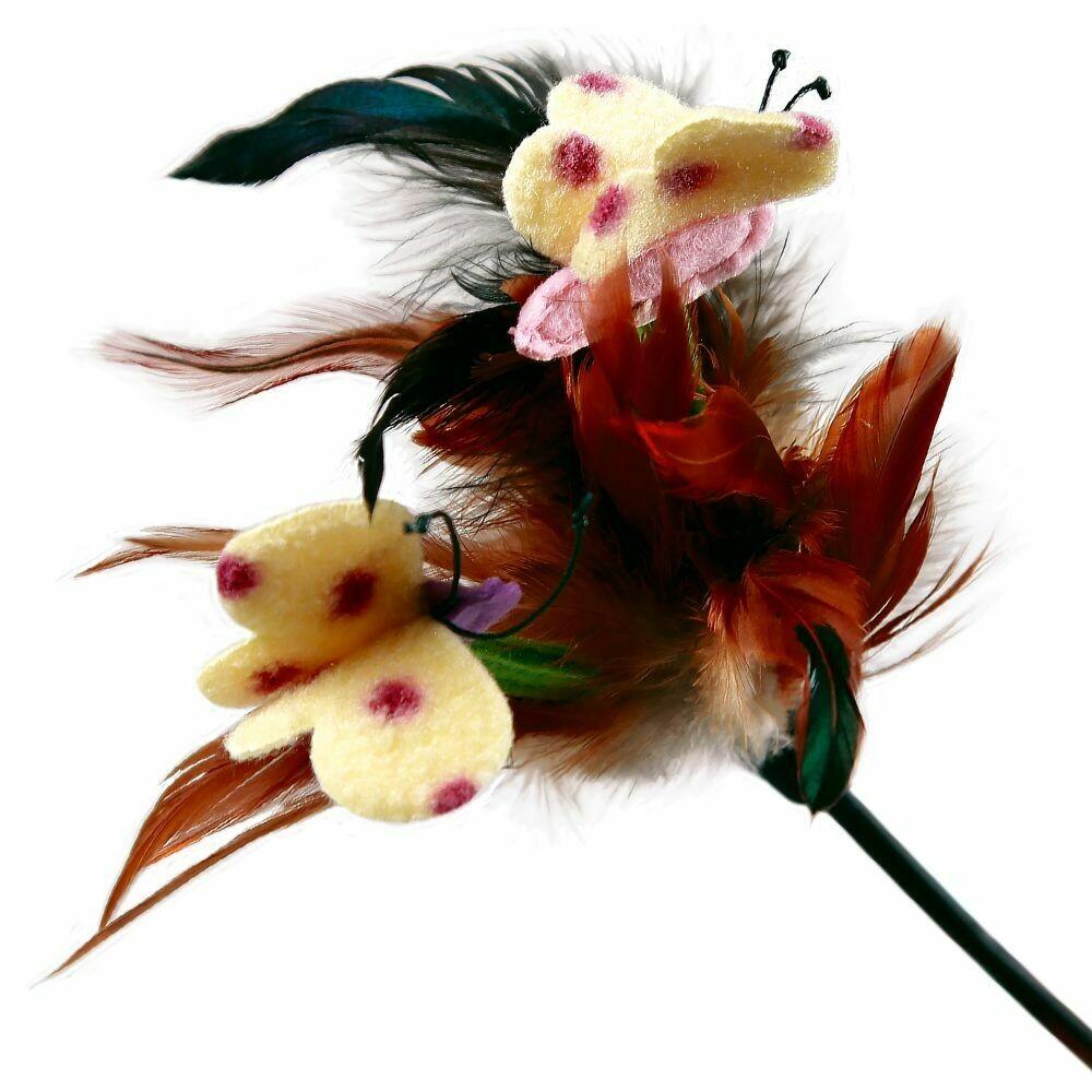 GiGwi Дразнилка с перьями/пластик,перо куриное,ткань