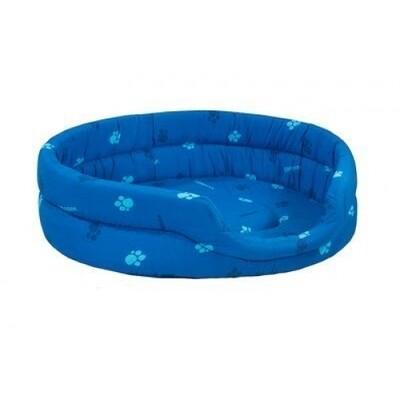 Лежак овальный стёганый 53*42*16см синий (хлопок дизайн, поролон)