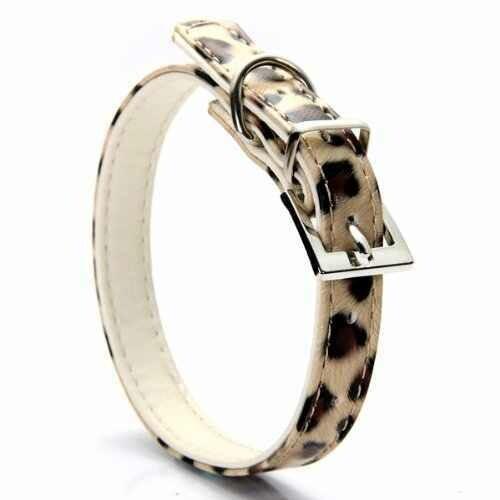 Ошейник 12 кож.зам. (бант+камень) 35см леопард желтый