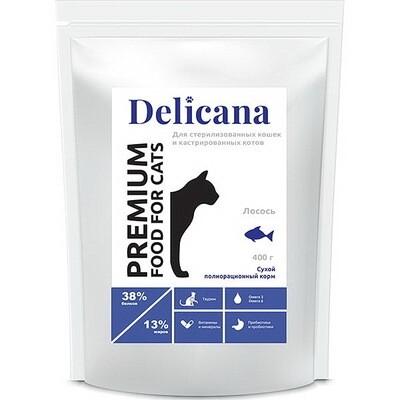 Деликана Delicana сух.д/кошек 0.4кг кастрированных и стерилизованных, лосось