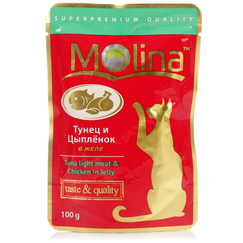 Молина влаж.д/кошек 100г Тунец и цыпленок  в желе