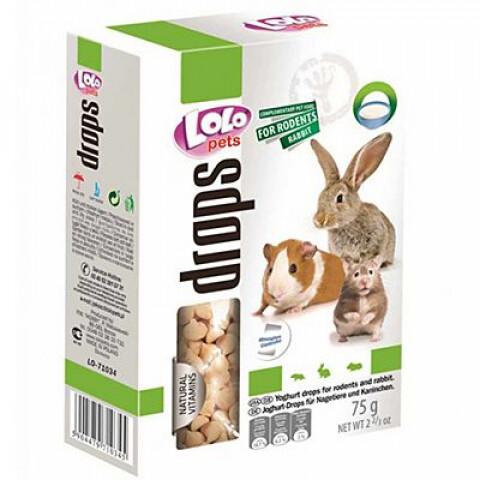 Лоло петс LoLo Pets дропсы д/грызунов и кроликов 75г йогуртовые
