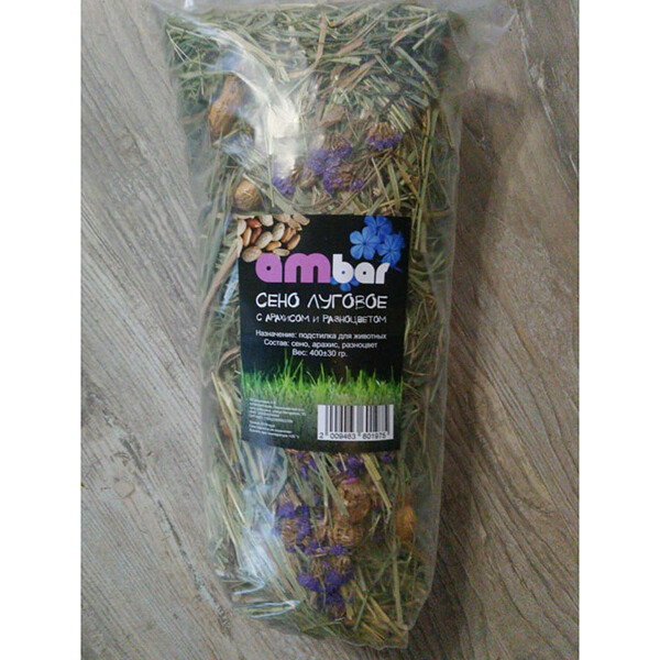 "Сено ""Ambar"" разноцвет василёк с арахисом 400гр"